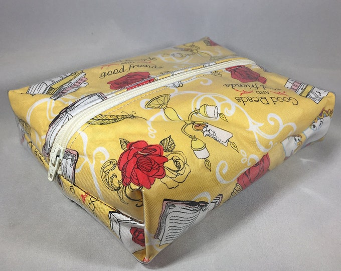 Make Up Bag - Beauty and the Beast Box Shaped Cosmetic Bag