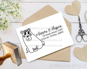 Custom Rubber Stamp Return Address  Costume Bear Old West Monogram Modern Family Last name Personalized rubber stamp JLMould 1076