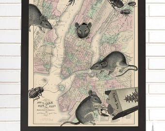 Vintage New York Map, New York City Map Art, Rats & Roaches, NYC, Lithograph, Wall Map Art