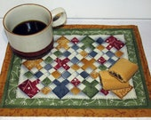 Mug Rug, Small Place Mat, Snack Mat, Large Coaster, Reversible Quilt Pattern, Comfy Chair, Nine Patch