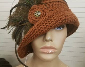 Rust Cloche Hat with Feathers -Rust Crochet Hat - Rust Hat - Crochet Cap - Custom colors available