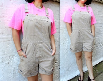 1990's Khaki Overalls by the Gap in size Medium or Large . Cargo Overall Shorts . Summer Cozy Worn In Bib Beige Tan