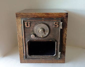 Wooden Post Office Door Safe Eagle Dial & Pointer Combination Wood Copper Brass Bronze PO Keepsake Box Bank Wedding Cabinet 8th Anniversary
