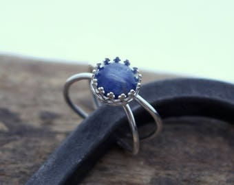 Blue Kayanite Sterling Silver Double Ring Band