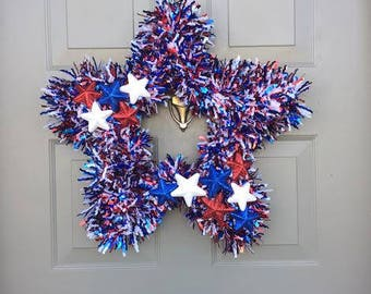Star Wreath - Red, White and Blue