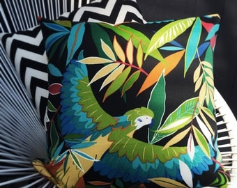 Tropical Parrot and Leaves Outdoor Cushion Cover in Black