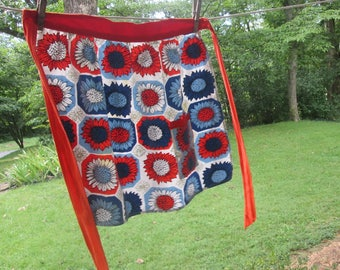 Vintage Half Apron - Handmade Cotton Apron - Red White Blue Sunflowers