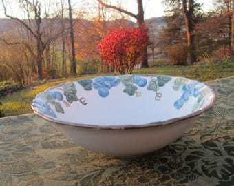 """Vintage Metlox Poppy Trail Serving Bowl - """"Blue Sculptured Grape"""" Pottery - Made In California - 1960s"""