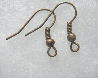 Earwire Ball  Coil Fishhook Copper Plated 50 pair