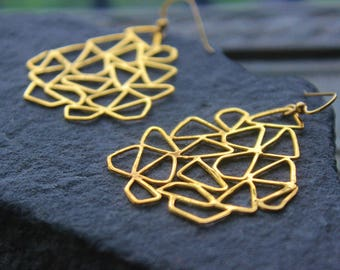 Large Geometric Gold Earrings, Metalwork, Chandelier Large Metal Earrings