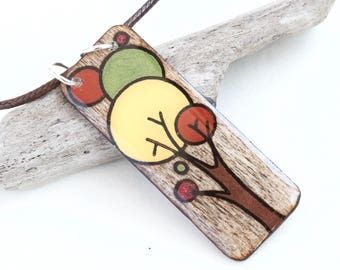 Wood Rectangle Tree Pendant Necklace, Fall Colors, Unique Resin & Wood Burned Jewelry for Women, One-of-a-Kind Handmade in Canada