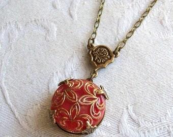Scarlett Fleur de lis, Vintage Glass Button Necklace