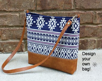 DESIGN YOUR OWN Bag / You choose fabric and faux leather