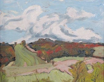 """Small Plein Air Landscape Oil Painting Impressionist Pochade Eastern Townships Quebec Canada Fournier """" Fall On Coaticook Valley """" 10 x 12"""