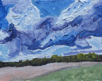 "Art Original Trading Card ACEO Landscape Oil Painting Small Miniature Cloud Sky Impressionist Country Road Quebec Canada Founier ""no2015A2"""
