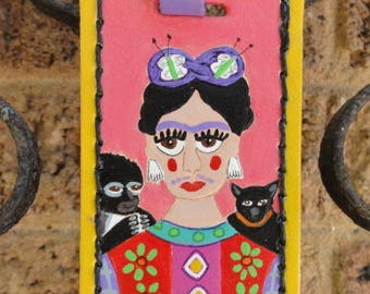 Luggage Tag with Frida Kahlo portrait