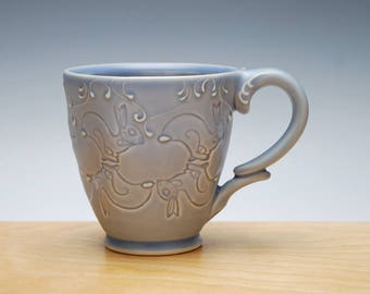 Hopping Bunnies in Periwinkle blue, Victorian modern handmade cup