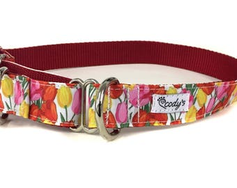 1 Inch Wide Dog Martingale in Tulips - Deal of the Day