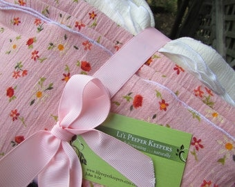 2 Swaddler Baby Blankets LARGE Cotton Gauze - Peach Floral and Cream, swaddling, photography prop, newborn, toddler, baby shower gift