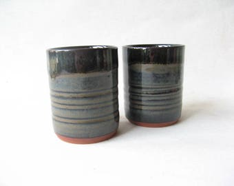 Whiskey Cups Set of 2, Small Ceramic Tumblers, Shot Glasses