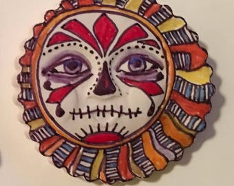 Handmade clay face round  goddess sugar skull sun  woman doll head  jewelry craft supplies  cabochon  mosaics dolls  craft  spirit square