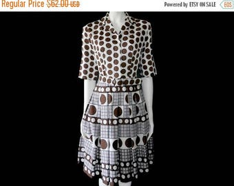 Summer Sale Vintage Hovland Swanson Dress// Polka Dot Dress // White and Brown Dress// 125