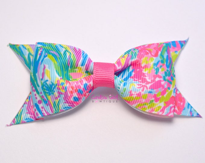 "Fan Sea Pants Bow ~ 3.5"" Hairbow ~ Lilly Inspired ~ Small Hair Bow ~ Girls Barrette ~ Toddler Bow ~ Hair Clip ~ Girls Hair Bow"