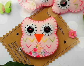 Handmade felt hair clips, Felt and fabric Pink Owl Hair clip or brooch pin, Pastel pink and flower Owl hair barrette