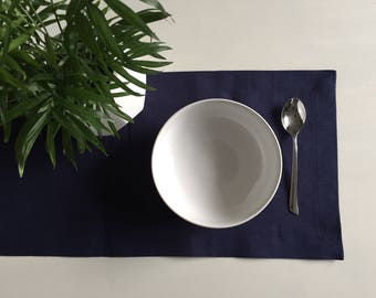 Table Runner, Navy Blue, Hemp Tencel, Organic, Modern Country, Farmhouse, Table Linens