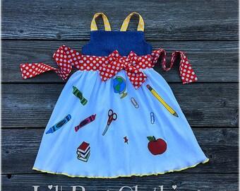 Back to School Girl Dress, Back To School Girl Outfit, Back To School Personalized Dress, Back To School Apple Dress, Back To School Outfit