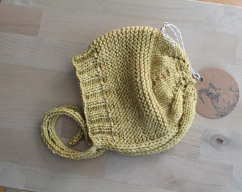 Hand Knit Newborn Bonnet / Cap in Hand Dyed Mustard Yellow Merino Wool