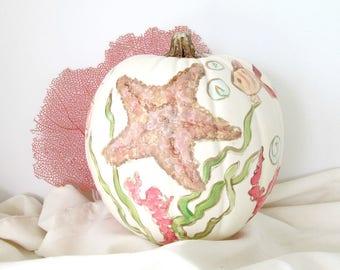 Painted Faux Pumpkin with Fish Starfish and Coral, Beach Pumpkin, Coastal Pumpkin, OOAK Fall Pumpkin for Coastal Decor, Coastal Fall Table