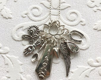 Lotus spoon handle charm necklace