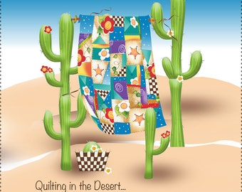 "Quilting in the Desert - New 7.5"" Square Fabric Art Panel"