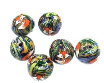 Round Polymer Clay Fox Beads, Woodland Beads, 6 Pieces