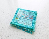 Hand Quilted Coasters Set in Turquoise With Pink Embroidery Fabric Coasters Fiber Art Mini Quilts Modern Quilt Drink Coasters Batik Fabrics