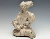 Small Abstract Figurative Sculpture of a Woman in White Crackle Raku Ceramics Goddess Kwan Yin