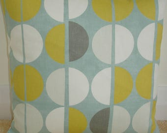 "18x18 Spots Zipped Pillow Cover Saffron Grey Duck Egg Ivory 18"" Retro Geometric Zippered Throw Cushion Sham Case Slip Pillowcase Gray"