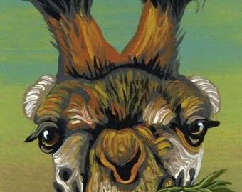 Dog Days of Summer ACEO ATC Giraffe Original Gouache Painting Wildlife Art-Carla Smale
