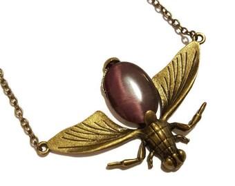Plum Vintage Bronze Bug Necklace
