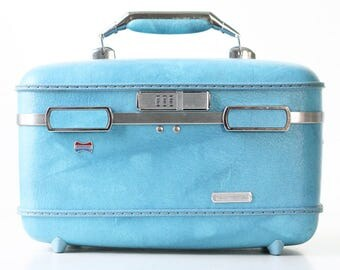 Vintage Train Case, American Tourister Blue Overnight Traincase, With Tray