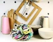 3ply sunshine  .. art yarn, hand spun yarn, handspun art yarn, wool yarn, boucle yarn, bulky yarn, handspun wool yarn,