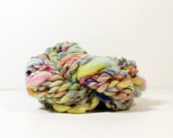 techno disco .. art yarn, hand spun yarn, handspun art yarn, wool yarn, boucle yarn, bulky yarn, handspun wool yarn