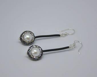 """Pearl Earrings,  Paved Pearls,  Dangle Earrings,  Sterling Silver,  Drop Earrings,  Fashion Jewelry,  Bridal Jewelry,  2.5"""" long"""