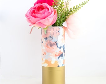 Abstract Navy and Peach Pattern Wrapped Flower Vase With Gold Base - Flower Vase