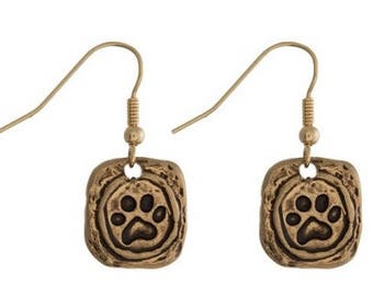 Goldtone Pawprint Earrings