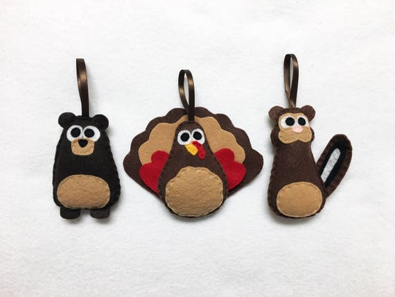 Woodland animal Ornaments, Bear, Chipmunk, Turkey - Set of Three Ornaments, Birthday Favors, Rustic Decoration, Christmas Ornament