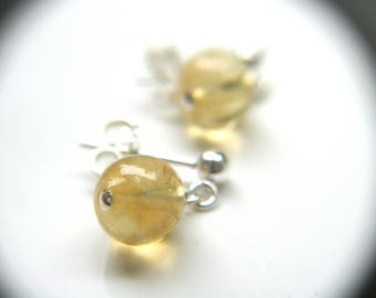 Citrine Earrings Stud . Citrine Crystal Stud Earrings . Healing Crystals and Stones Citrine Earrings Sterling Silver - Moonlight Collection