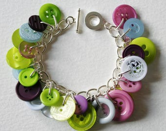 Button Bracelet Lime Green Lilac Purple and Pale Blue