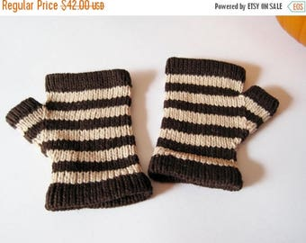 First Fall Sale - 15% Off Halloween Striped Glovelets - Fingerless Gloves in Bittersweet Chocolate Brown and Eggshell Beige - VEGAN - Linen